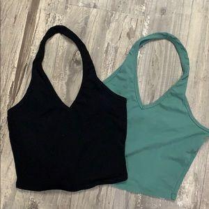 Bozzolo halter tops green and black medium